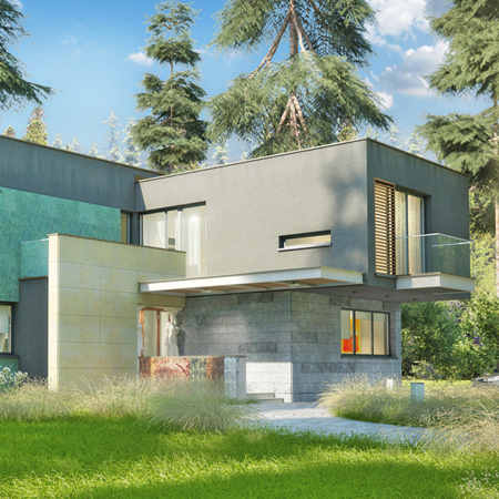 Project of a modern single-family house for a private investor in the Warsaw suburbs.